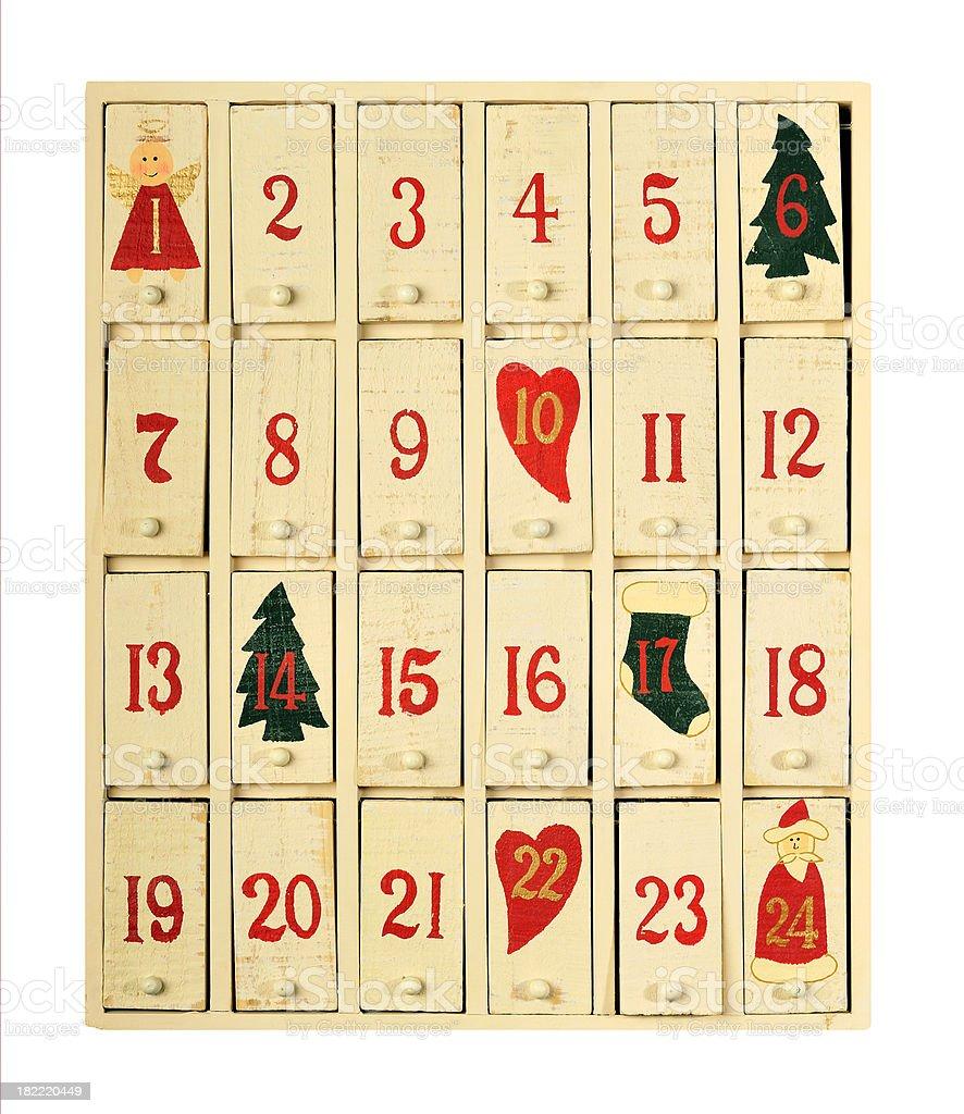 Vintage advent calendar stock photo