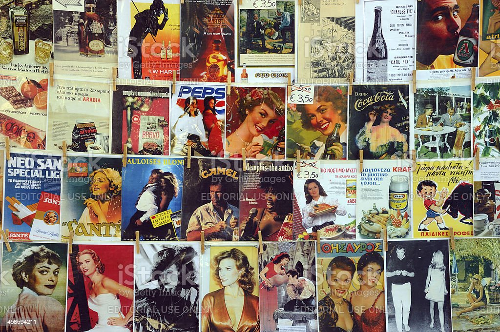 Vintage Advertisements and Magazine Covers on Sale stock photo
