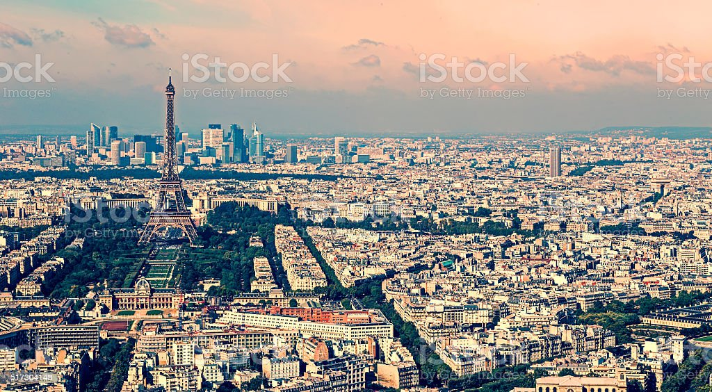 Vintage aerial view with Eiffel tower and La Defense district stock photo