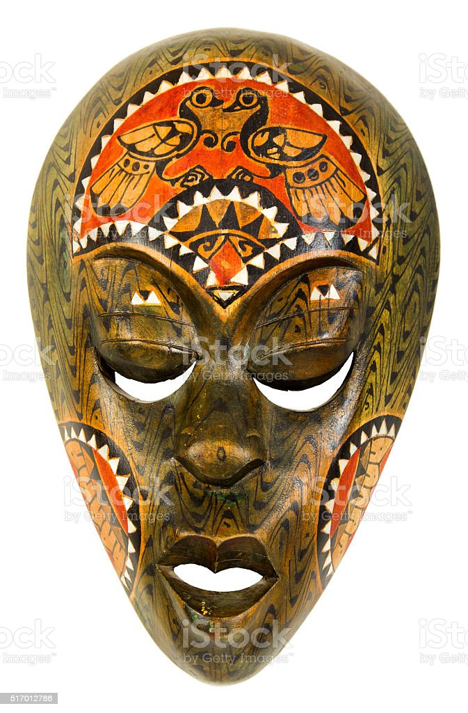 vintage african mask on a white background stock photo