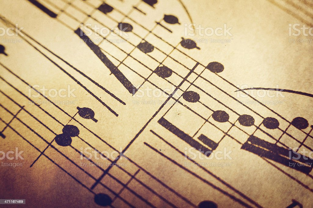 Vintage Aged Music Background on Grunge Paper royalty-free stock photo