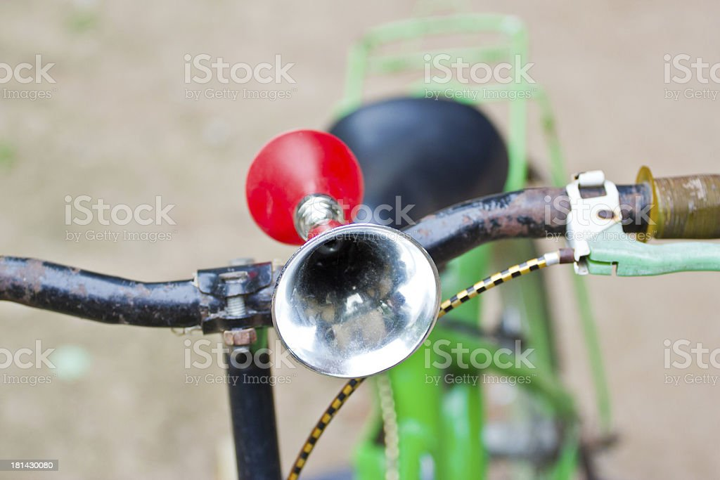 Vintage air horn with rubber bulb on bicycle royalty-free stock photo