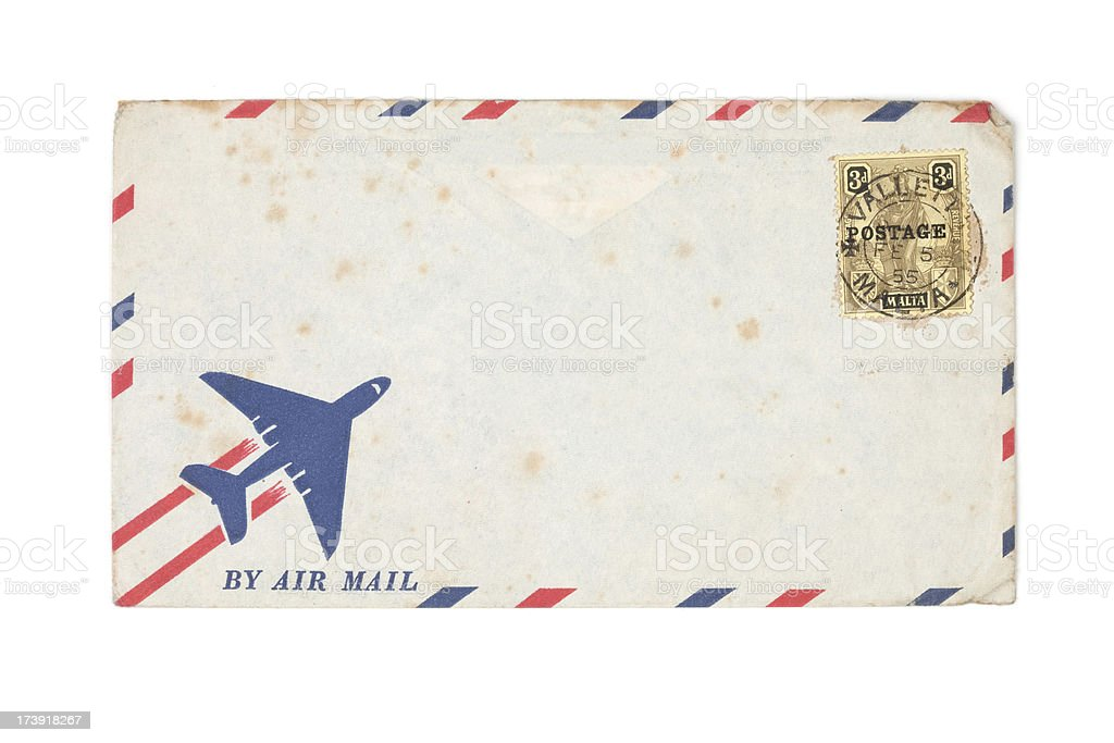 vintage air mail envelope and stamp stock photo