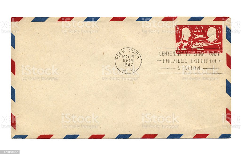 Vintage air mail envelope stock photo