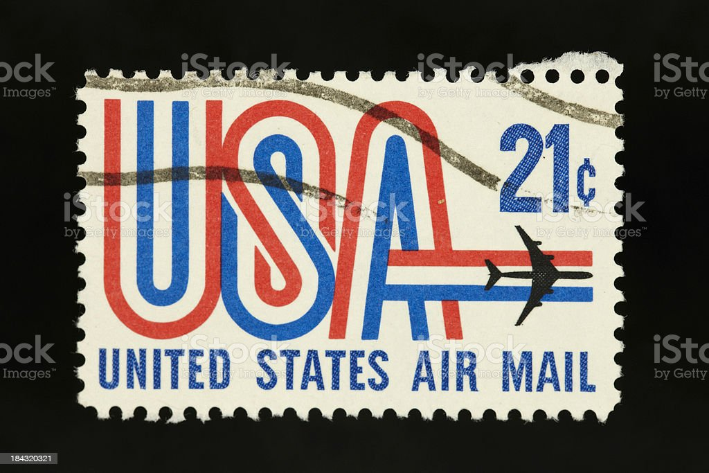 US vintage air mail postage stamp 21 cents stock photo
