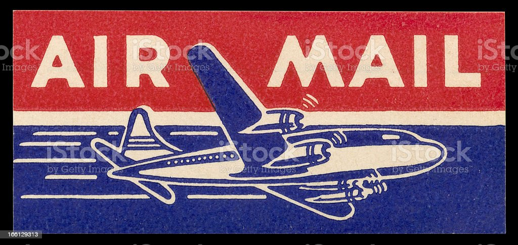 Vintage Air Mail sticker c. 1960 stock photo