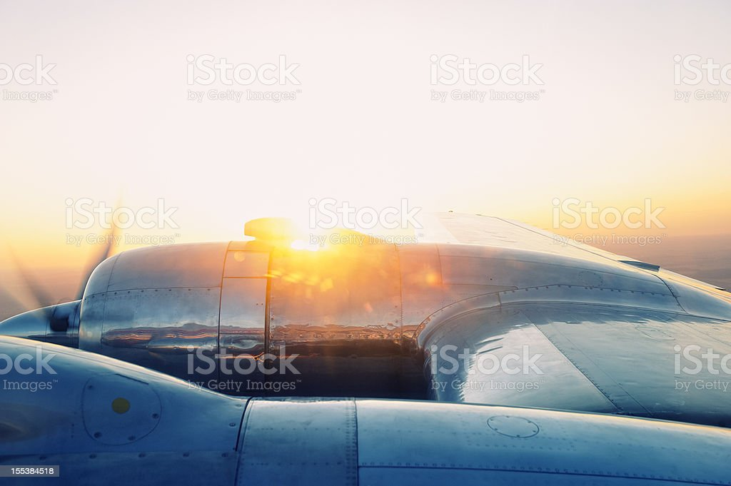 Vintage Aircraft at Sunset royalty-free stock photo