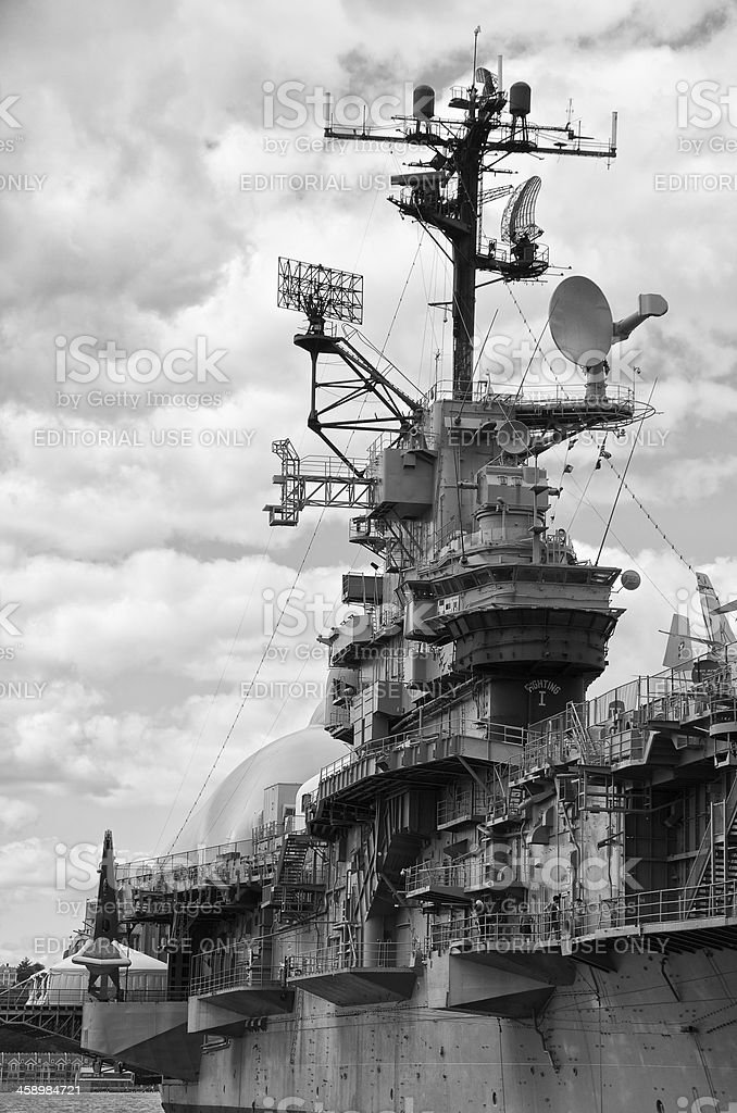 U.S.S. INTREPID, Vintage Aircraft Carrier & Museum docked in NYC royalty-free stock photo