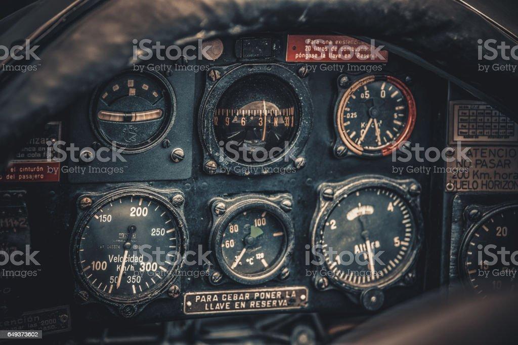 Vintage aircraft cockpit detail. Retro aviation, aircraft instruments stock photo