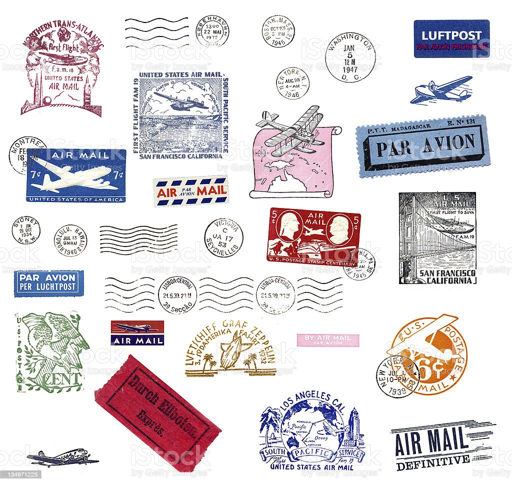 Vintage airmail labels and stamps stock photo