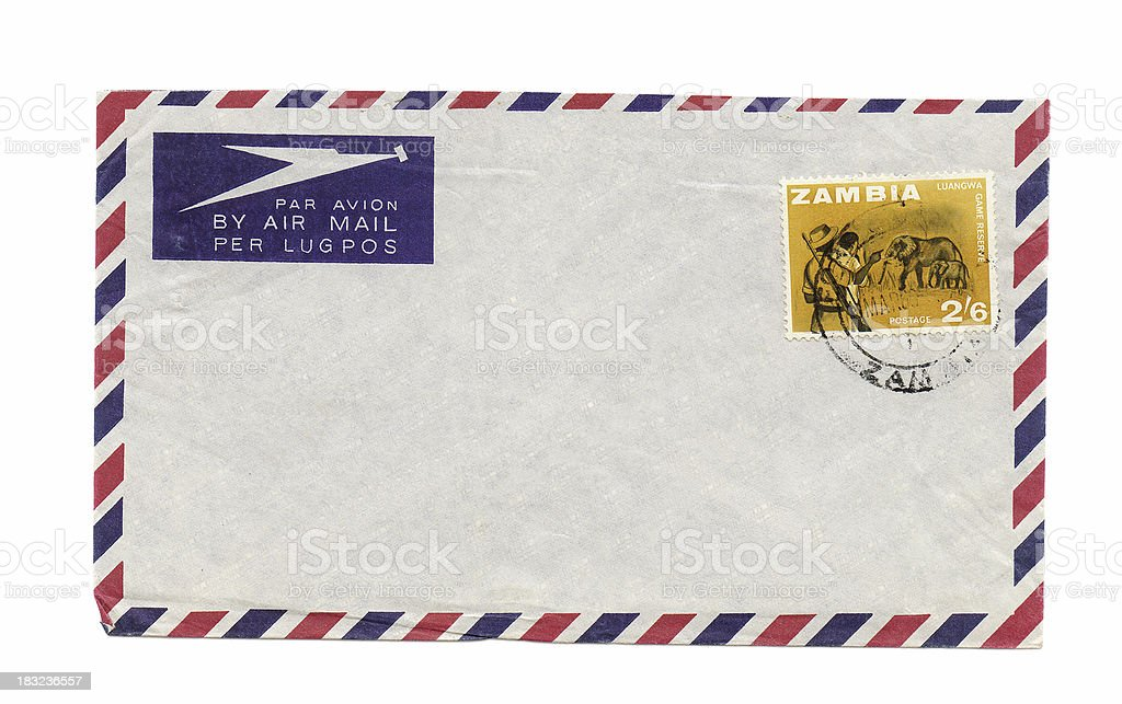 Vintage airmail letter from Zambia with postmarked stamp royalty-free stock photo
