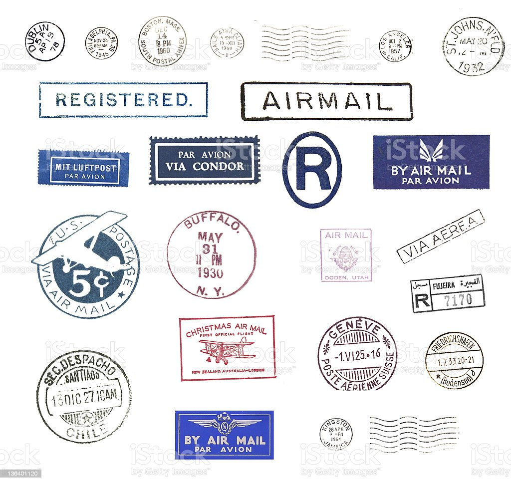 Vintage airmail stamps stock photo