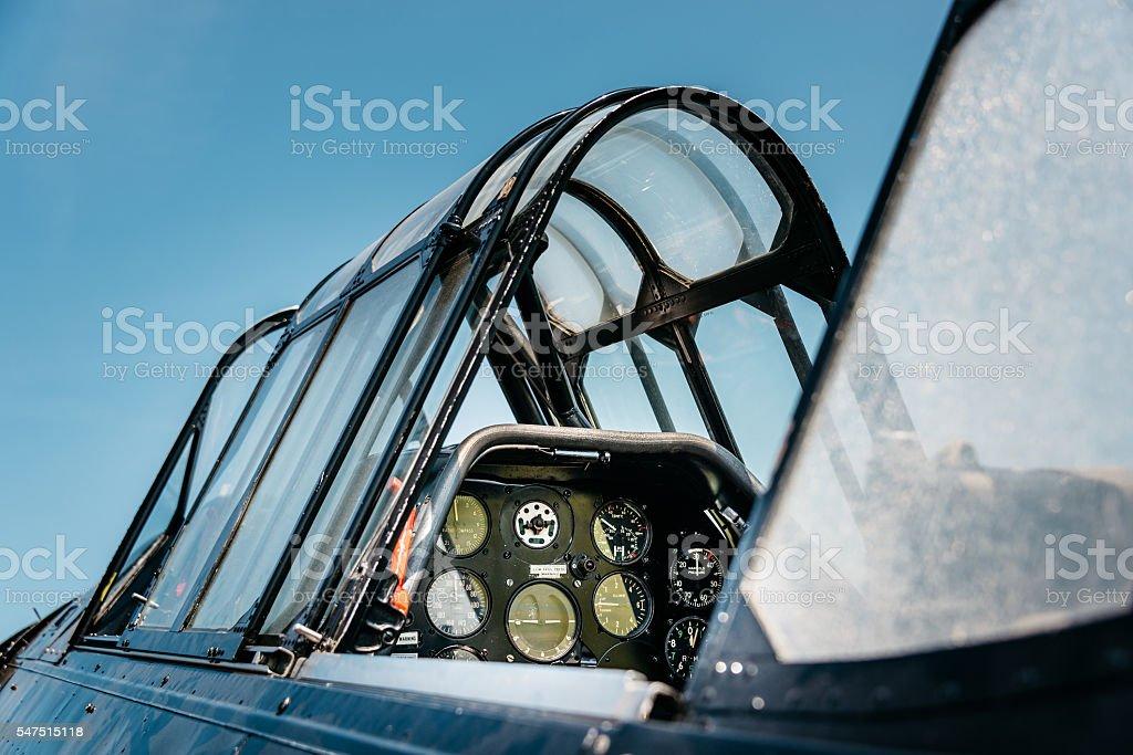 Vintage airplane cockpit stock photo