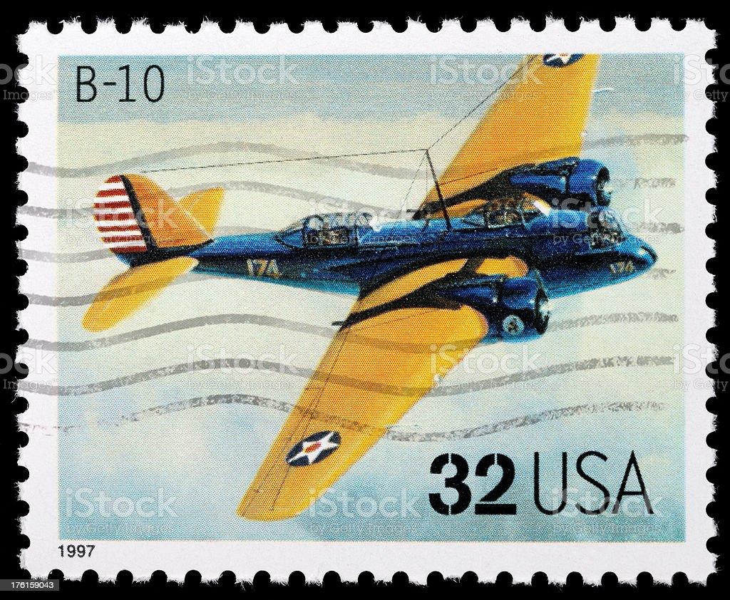 Vintage airplane stamp. B10 aircraft. stock photo
