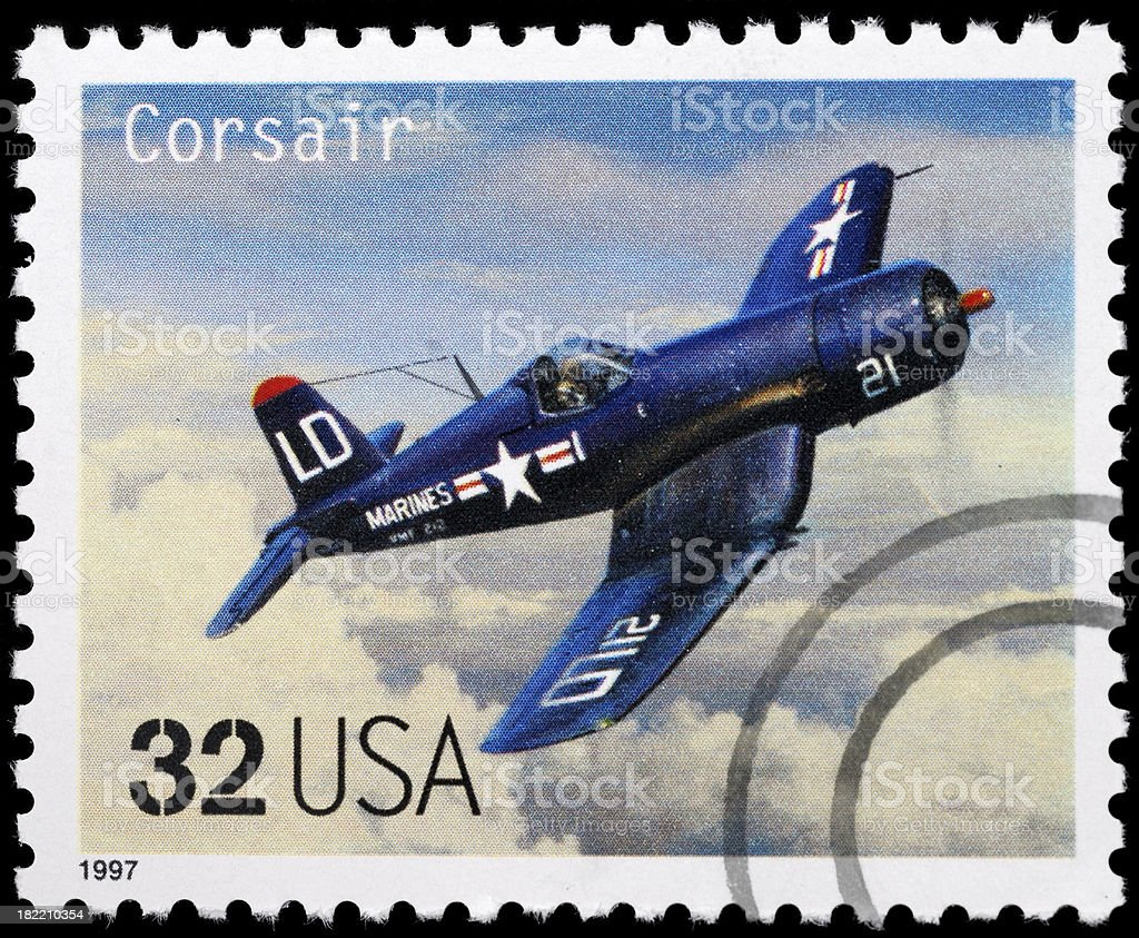 Vintage airplane stamp. Corsair aircraft. stock photo