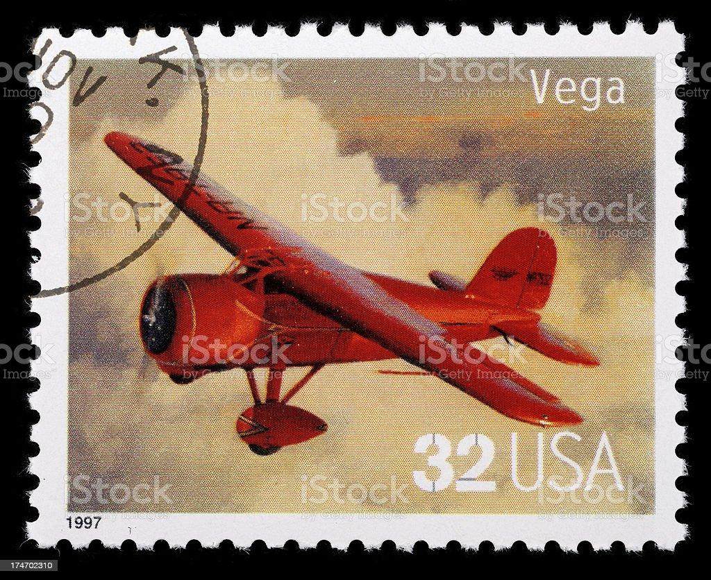 Vintage airplane stamp. Vega aircraft. stock photo
