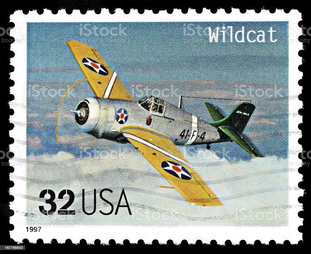 Vintage airplane stamp. Wildcat aircraft stock photo