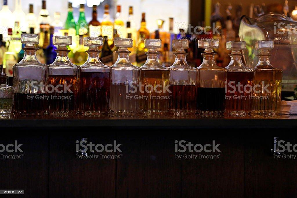 vintage alcoholic bottles stock photo