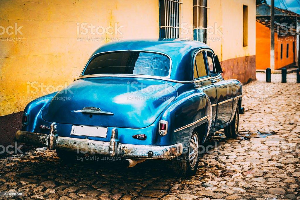 Vintage American car parked in Trinidad, Cuba stock photo