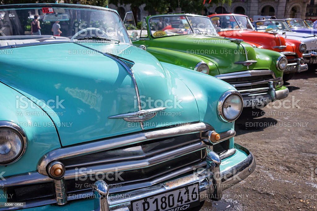 Vintage american cars parked in Havana, Cuba stock photo