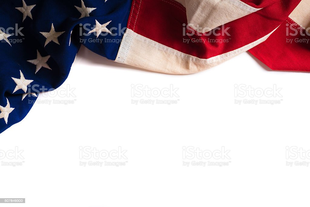 Vintage American Flag on white with copy space stock photo