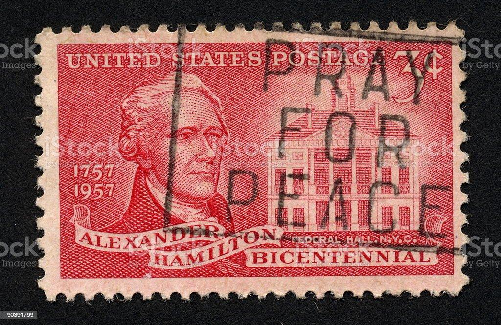 Vintage American Stamp 1957, Ephemera. stock photo