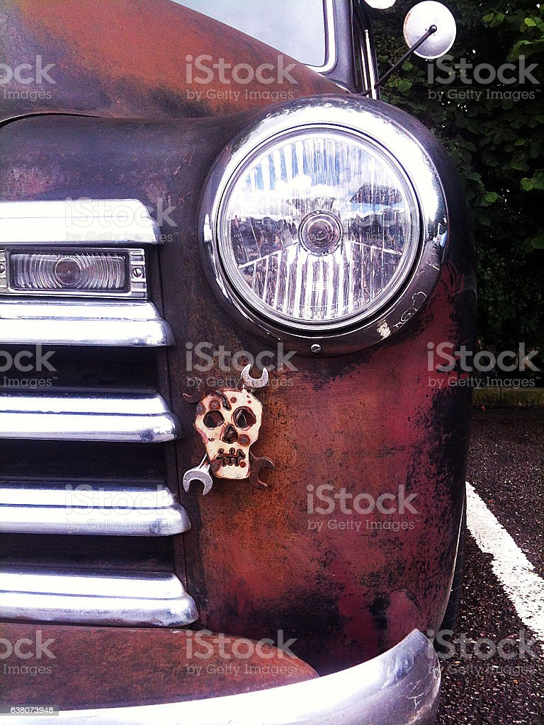 Vintage American truck close-up stock photo