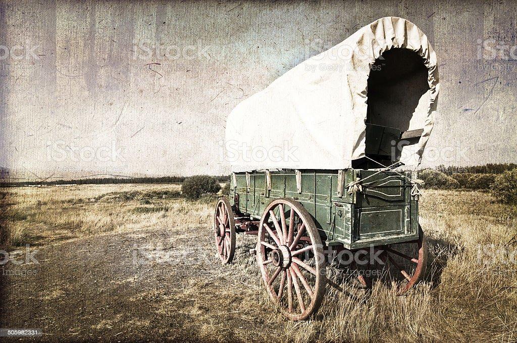 Vintage american western wagon stock photo