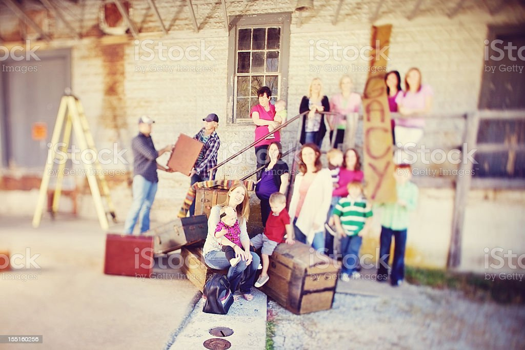 vintage americana family generations loading dock royalty-free stock photo