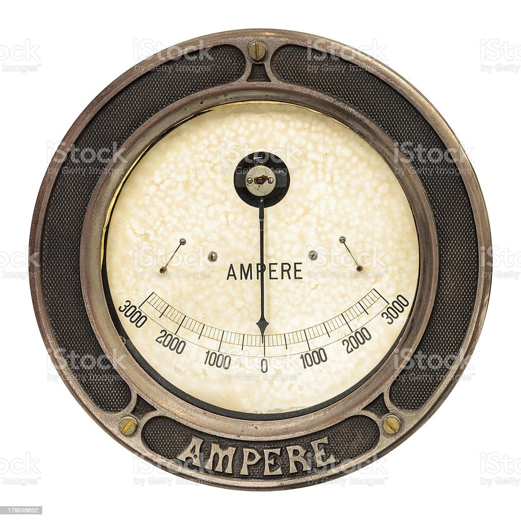 Vintage ampere meter isolated on white stock photo