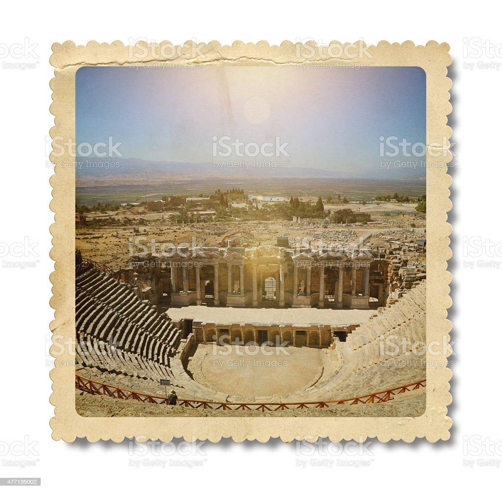 Vintage Amphitheater, Hierapolis Photo (Clipping Path) stock photo