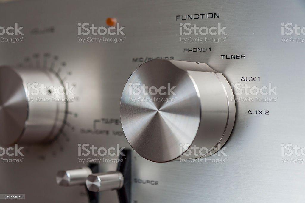Vintage Amplifier Aluminium Knob stock photo