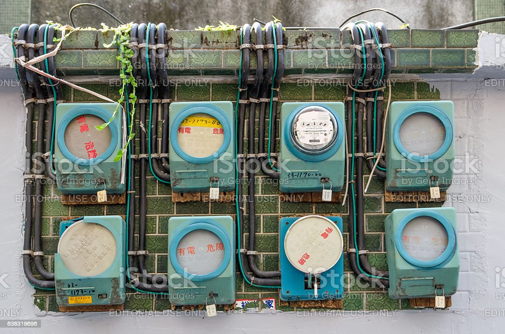 Vintage Analog Electricity Meters in Taiwan. stock photo