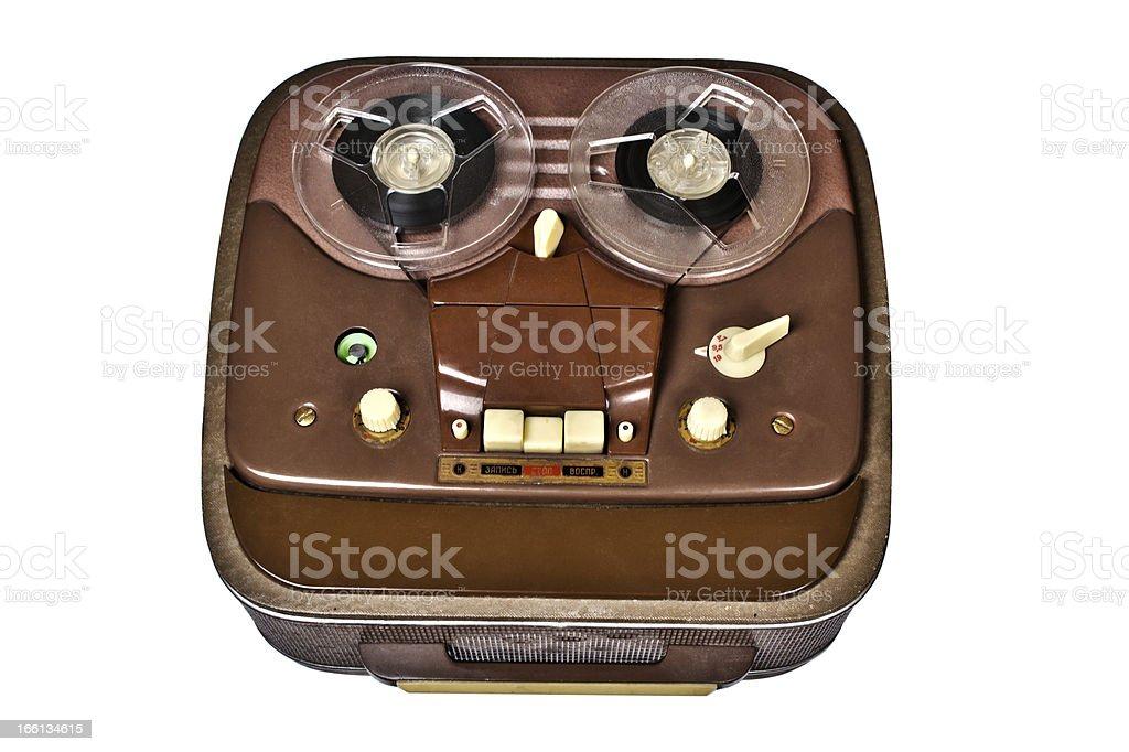 vintage analog recorder reel-to-reel on white background royalty-free stock photo