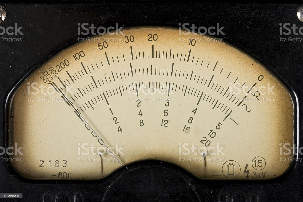 Vintage analog scale of a measurment device stock photo