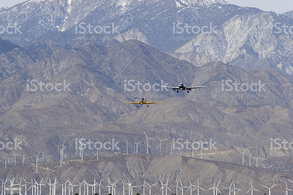 Vintage And Modern Aircraft stock photo