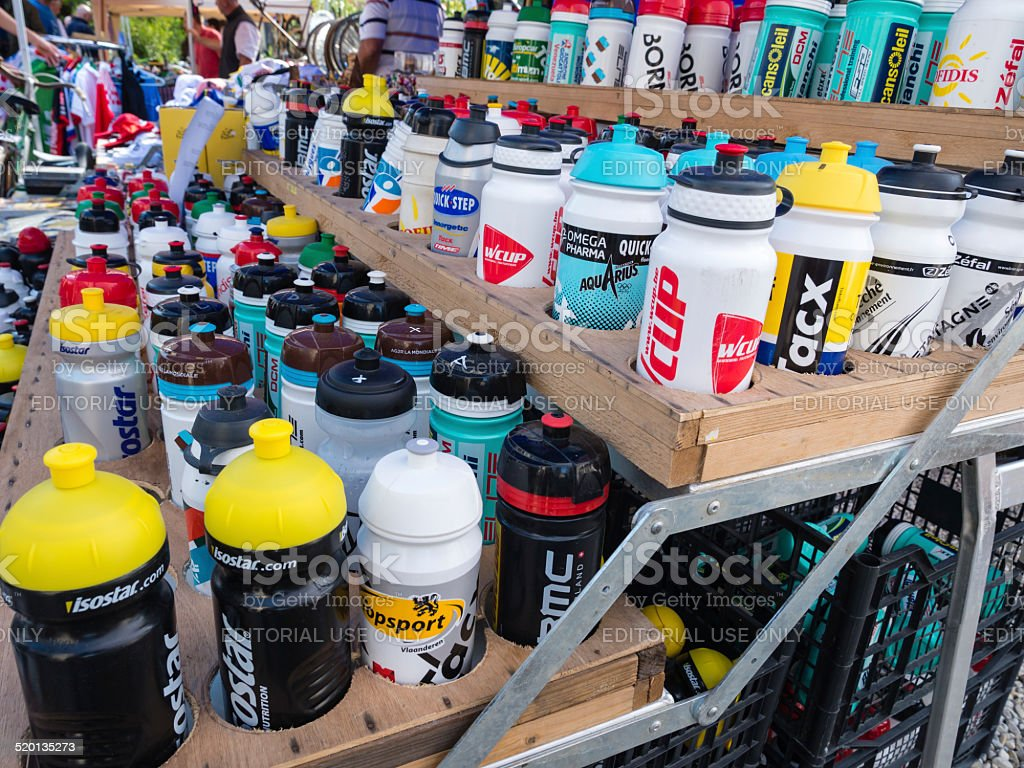 Vintage and modern water bottles stock photo