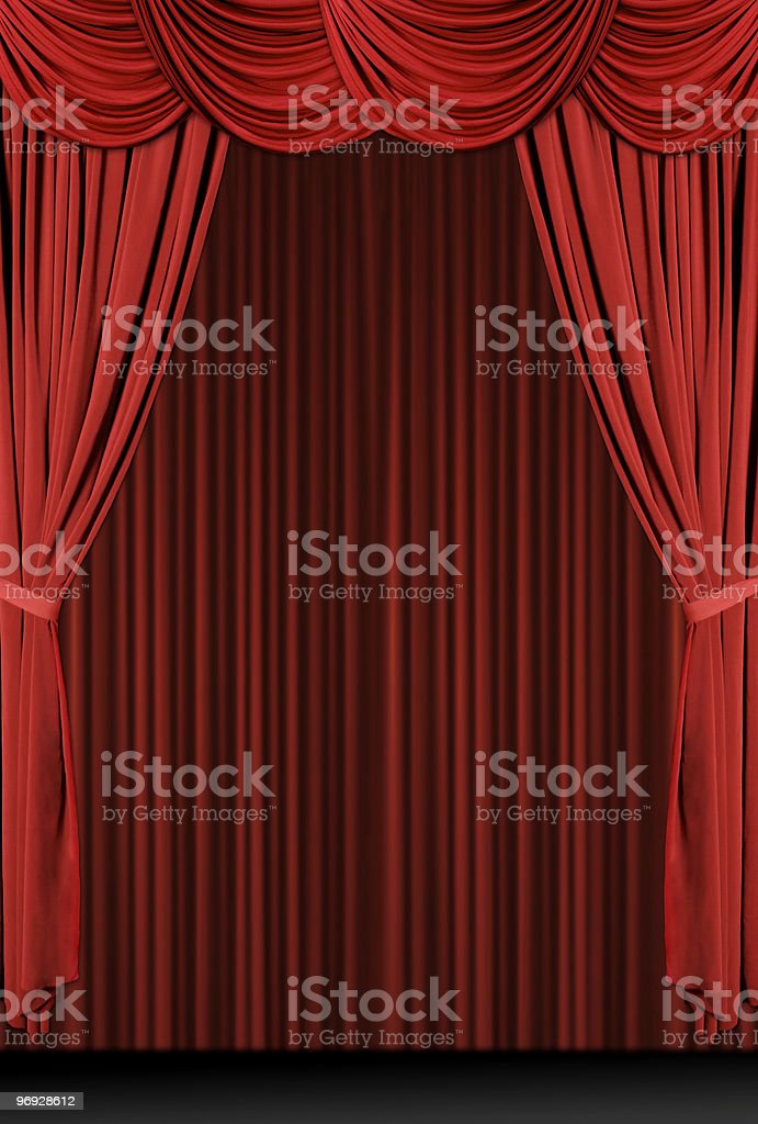 Vintage Antique Draped Theatre Curtains stock photo