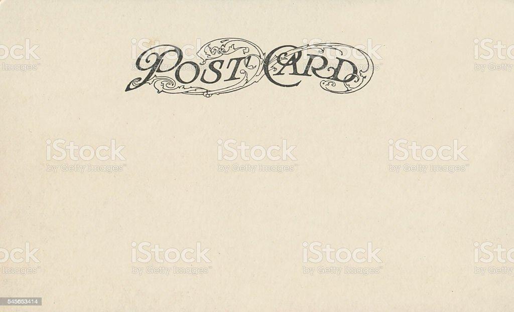 Vintage antique postcard back with ornate design copy space stock photo