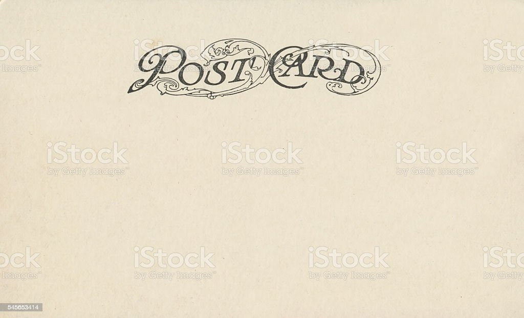 Vintage antique postcard back with ornate design copy space stock photo