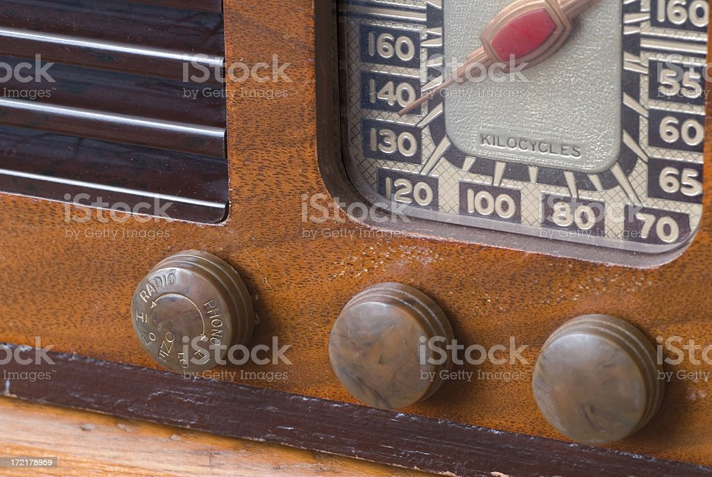 Vintage Antique Radio Closeup stock photo