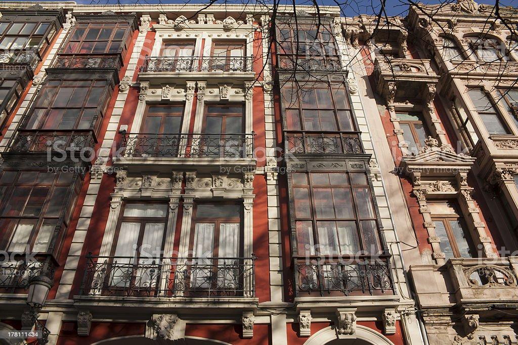 Vintage apartment buildings stock photo