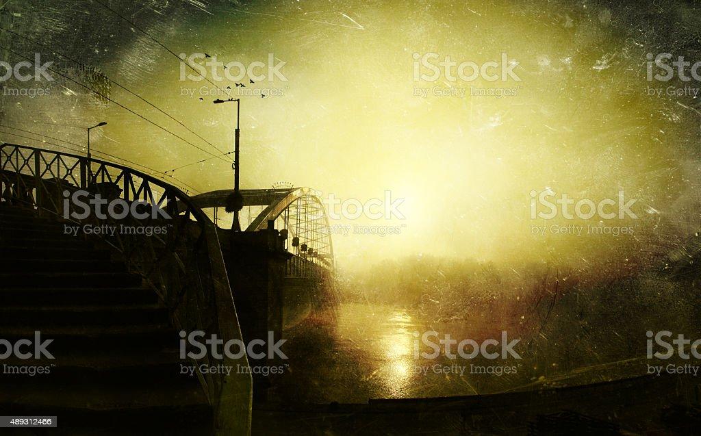 Vintage apocalypse textured scenery stock photo