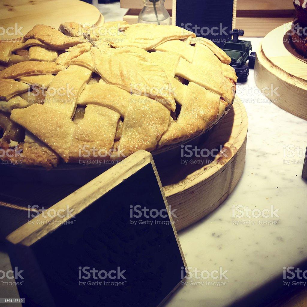 Винтажный Яблочный пирог с пустым Цена Метят Стоковые фото Стоковая фотография