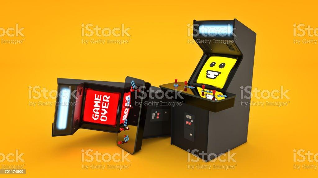 vintage arcade game machine concept game over. 3D rendering