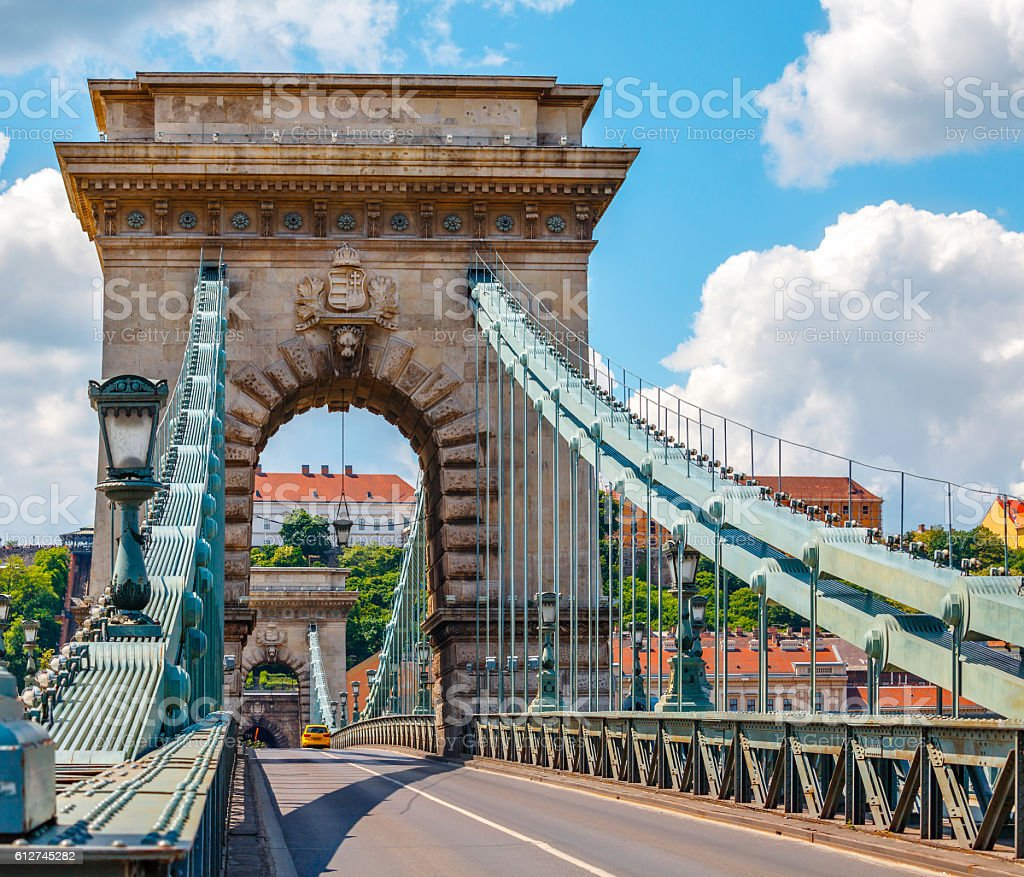 Vintage arch at chain bridge in Budapest stock photo