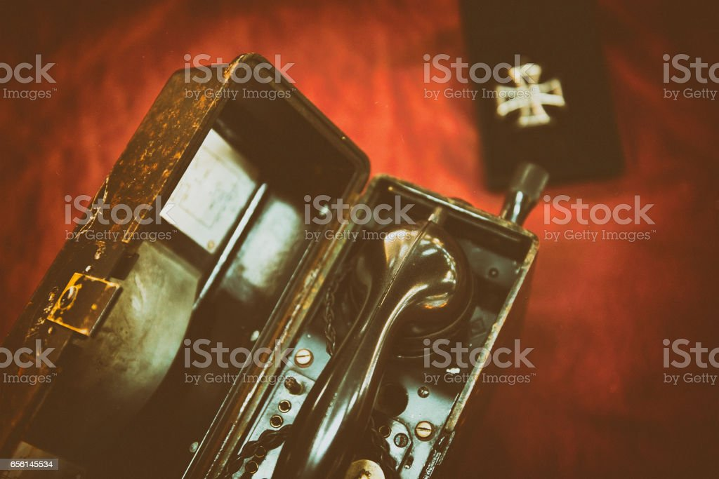 Vintage army field telephone stock photo