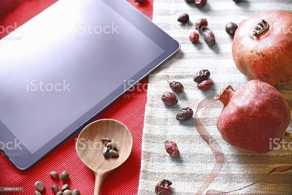 Vintage art and tablet PC royalty-free stock photo