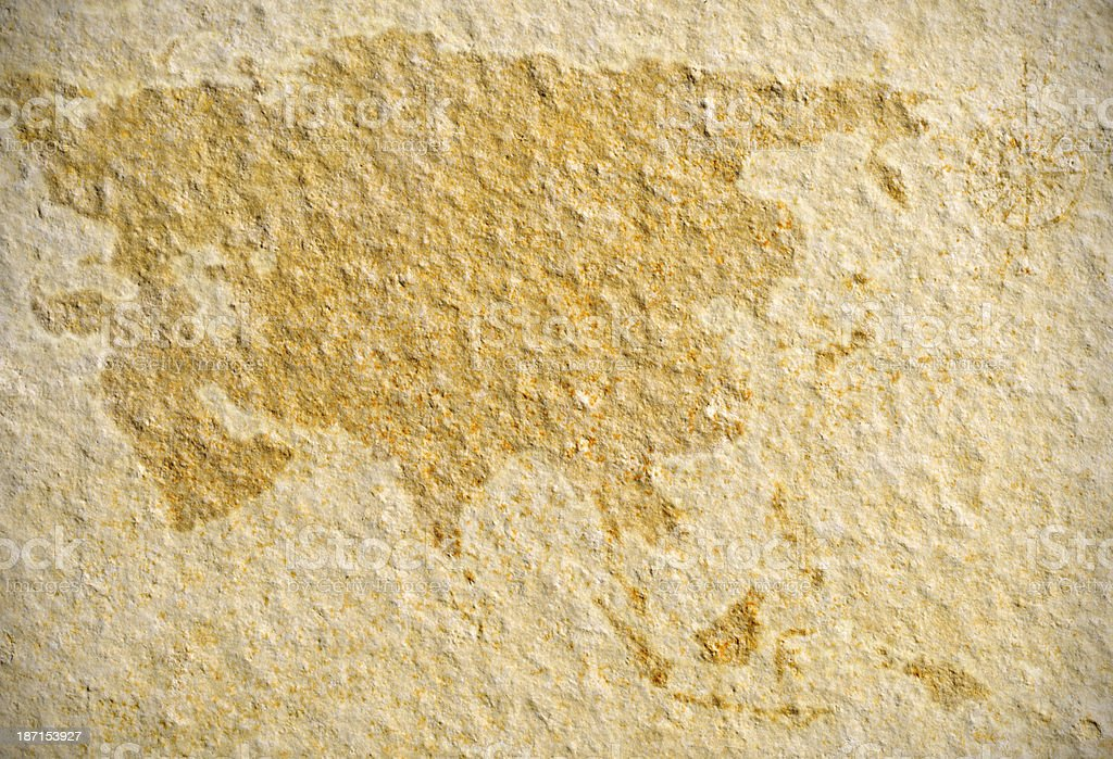 Vintage Asia map on Rock stock photo