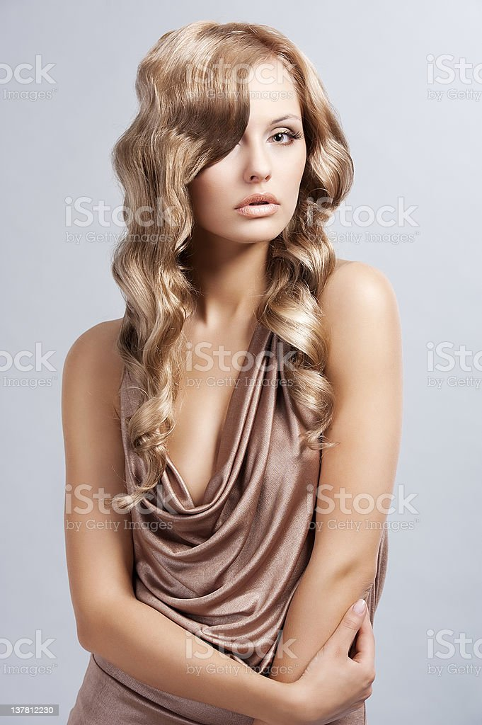vintage attractive blonde woman royalty-free stock photo